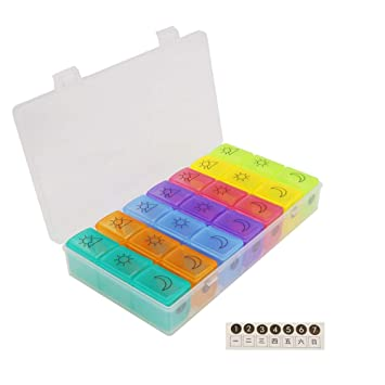 Amazon.com  HRX Package Large Weekly Pill Planner Organizer 3 Times ... 9f83a01285
