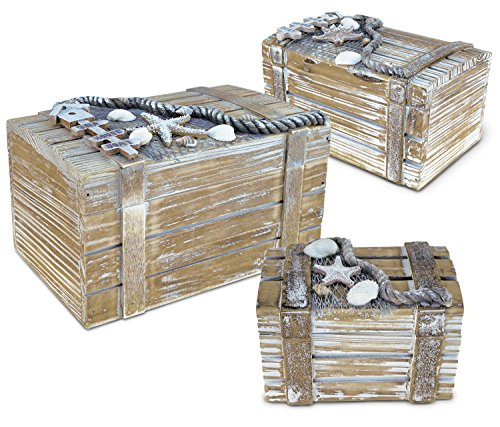 Puzzled Jewelry Box Set Handcrafted Wooden Nautical Decor - Beach Theme - Set of 3 - Item (Cargo Office Box Set)