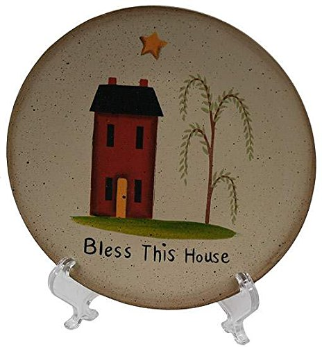 (Set of 2 Hand Painted Saltbox and Weeping Willow Bless This House Decorative Plates)