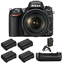 Nikon D750 DSLR Camera with 24-120mm Lens, MB-D16 Pack, 4 Batteries, and Charger - Includes Camera with Lens, MB-D16 Battery Power Pack, 4 EN-EL15 Rechargeable Batteries, and AC/DC Battery Charger