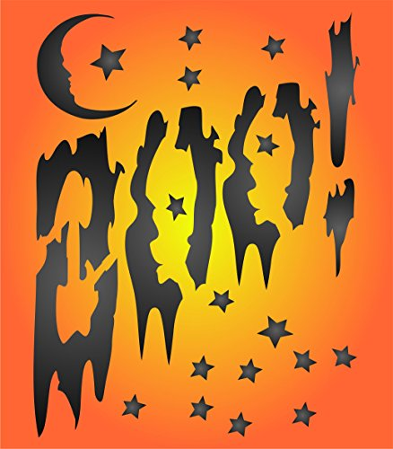 "Halloween Boo Stencil - (size 5""w x 6.5""h) Reusable HALLOWEEN Wall Stencils for Painting Posters Labels Words Quotes - Use on Walls, Floors, Fabrics, Glass, Wood, and -"