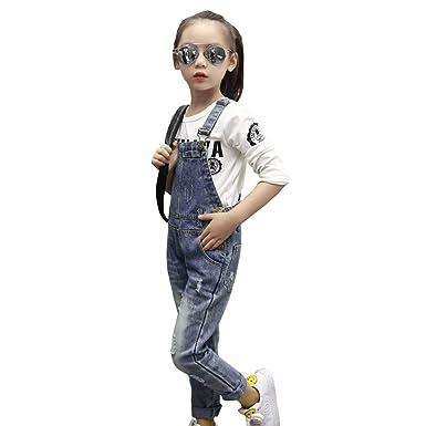 3e752f84454ed ANGELCITY ダメージサロペット 女の子 男の子 デニム ジーンズ パンツ サロペットパンツ ボーイズ ガールズ 子供服 カジュアル サスペンダー