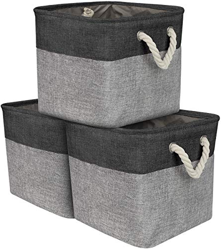 Sorbus Storage Large Basket Set [3-Pack] Big Fabric Collapsible Organizer Bin with Cotton Rope Carry Handles for Linens, Toys, Clothes, Kids Room (Black)