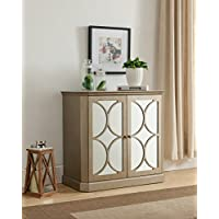 Kings Brand Gold Finish Buffet Server Cabinet / Console Table, Mirrored Doors