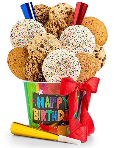 GiftTree Happy Birthday Assorted Cookies Gift | 12 Count Assorted Cookies | Chocolate Chip, Vanilla Sprinkle, Double Chocolate Brownie, Cranberry Oatmeal | Reusable Happy Birthday Pail | 3 Party Horns