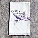 Kitchen Tea Towel Cotton Flour Sack Fabric Purple Shark with a Tattoo