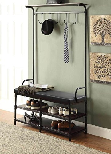 "Black Metal and Black Bonded Leather Entryway Shoe Storage Bench with Coat Rack Hall Tree Storage Organizer 5 Hooks - 40.5"" Wide Bench - Finish: Black ; Material: Metal, Bonded Leather, and Hardwood Features Black bonded leather for comfort seating Comes with 5 Hooks to store your Coat, Jacket, Hats, Purse, etc. - hall-trees, entryway-furniture-decor, entryway-laundry-room - 51qt6jk1p1L -"