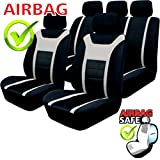 akhan-tuning Car Seat Covers Set, Black/Grey