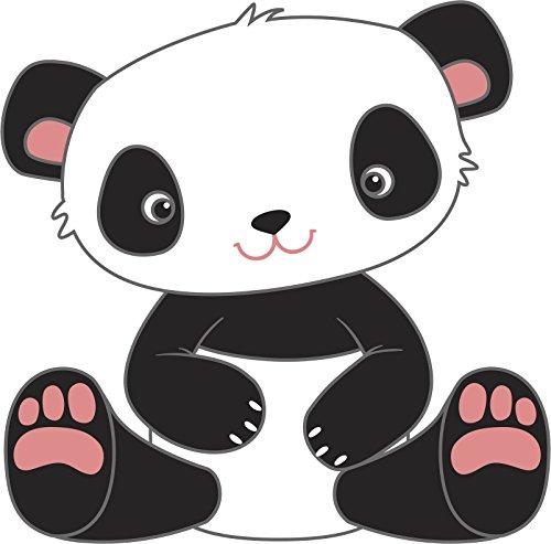 - Adorable Cute Cuddly Teddy Bear Nursery Cartoon - Black And White (Panda) Vinyl Decal Sticker (4