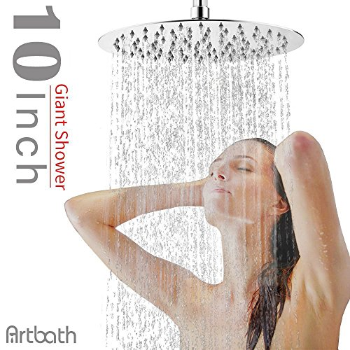 Artbath 10 Inch Round Large Rain Shower Head Ultra Thin 304 Stainless Steel with Showerhead Swivel Metal Ball Connector Chrome Finish