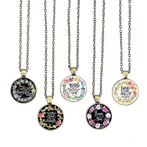 BUENAVO Bible Verse Pendant Necklace Christian Songs and Hymns Glass Cabochon Pendant Inspired Necklace with 24 inches Chain Handmade for Gifts 5pcs (Bible 4, Verses)