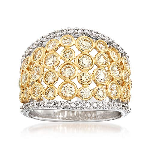 Ross-Simons 2.00 ct. t.w. Yellow and White Diamond Bezels Ring in 14kt White and 18kt Yellow ()