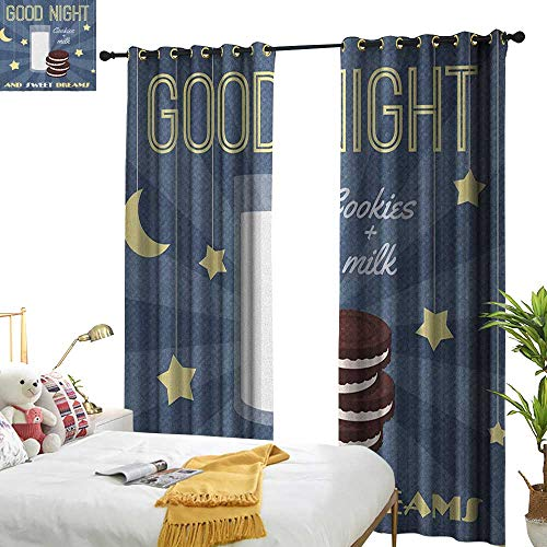 - Littletonhome Insulated Sunshade Curtain Sweet Dreams Retro Poster with Chocolate Biscuits and a Glass of Milk Good Night Quote Darkening and Thermal Insulating W120 x L84 Multicolor
