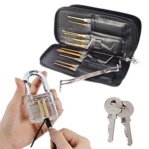Drillpro Profi Lockpicking Set 24-teiliges Pick-Set Dietriche Kit,Schlossknacken Schlüssel Extractor Werkzeug + Transparente Übungs-Vorhängeschlösser für Schlosserei