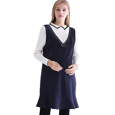 Ropa de Maternidad Vestimenta Vestido Clase de Color sólido Falda ...