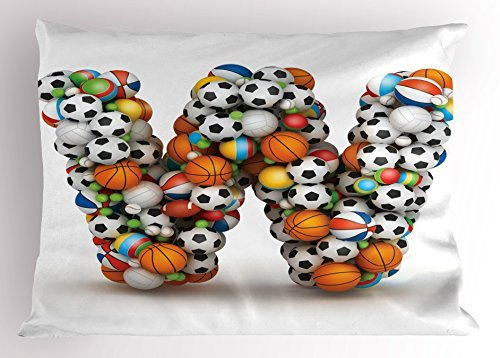 TINA-R Letter W Pillow Sham, Sports Themed Typography Alphabet Symbol with Various Balls Athletics Kids Design, Decorative Standard Size Printed Pillowcase, 24 X 16 Inches, Multicolor