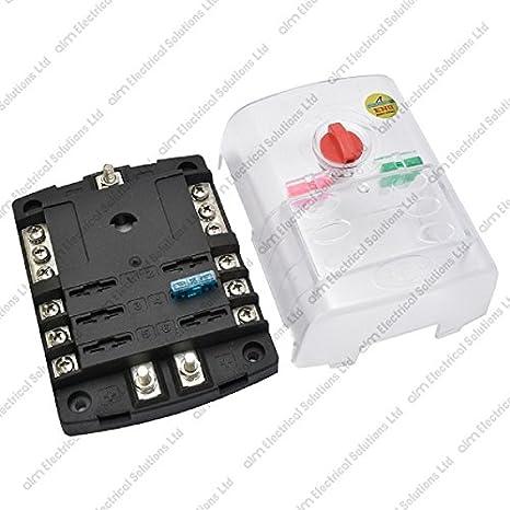 6 way blade fuse box / bus bar with cover - marine kit: amazon.co.uk:  electronics  amazon.co.uk