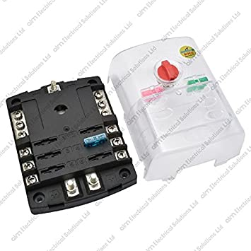 6 Way Blade Fuse Box / Bus Bar With Cover - Marine Kit: Amazon.co.uk