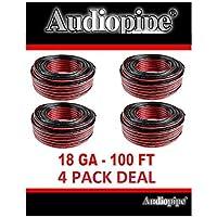 18 Gauge 400 Red Black Speaker Wire Zip Cable 4 Rolls, 100 Each Copper Clad