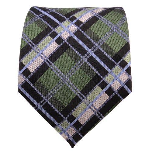 TigerTie Designer cravate en soie vert bleu noir argent à carreaux - cravate en soie