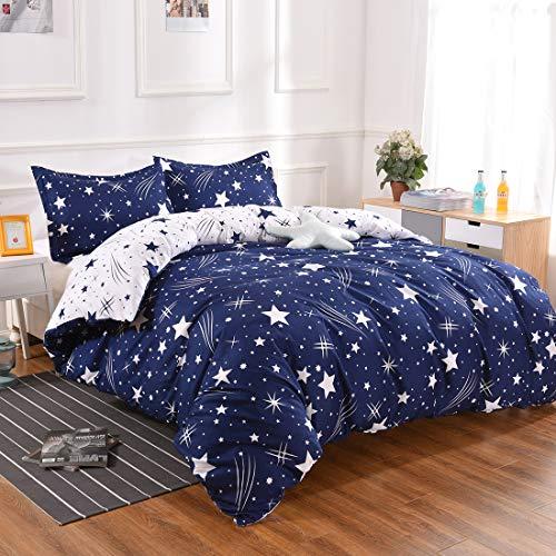 YMY Lightweight Microfiber Bedding Duvet Cover Set, Cute Star Pattern (Blue White Star, Queen)