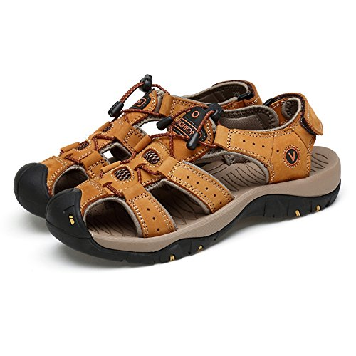 Mens Leather Sandals Closed Toe Breathable Cool Beach Shoes Summer Outdoors Walking And Hiking Khaki 1V2zNC6Na