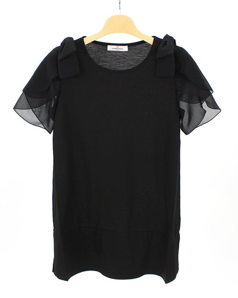 (ギャラリービスコンティ)GALLERY VISCONTI シフォンリボン&フリルデザインのチュニックカットソー B07D5R8NVY 9号(2)|ブラック(09) ブラック(09) 9号(2)