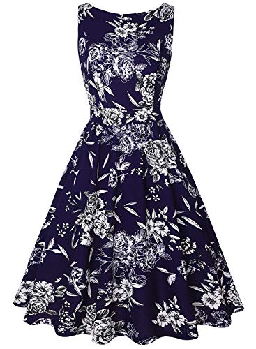 Garden Sleeveless - MISSJOY Women's Vintage 1950s Floral Tea Dress Sleeveless Garden Party Cocktail Swing Dresses