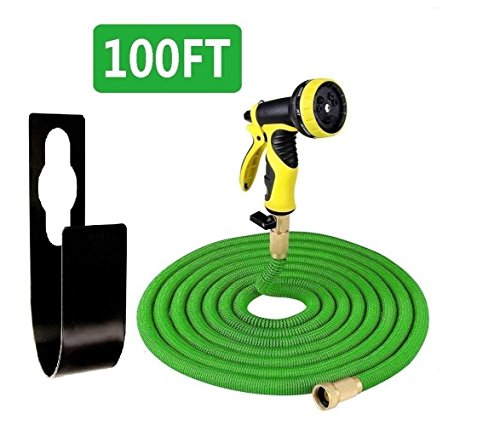 Garden Hose,100 ft Expandable Garden Hose,Expanding Water Hose,Lightweight Garden Water Hose with 3/4″ Solid Brass Fittings, 8 Function Spray Nozzle, Durable Outdoor Gardening Flexible Hose