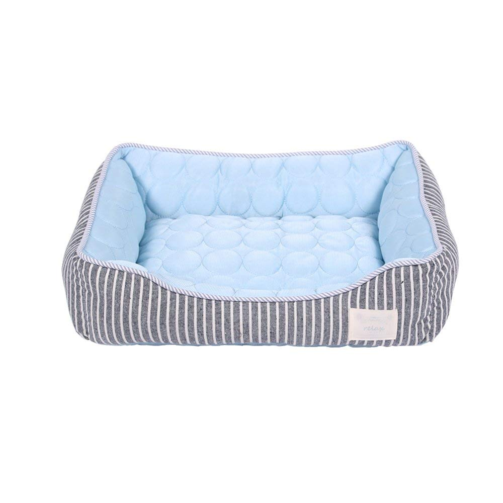 bluee Medium bluee Medium Summer Ice Silk Kennel Small And Medium-sized Kennel Cat Mat Doghouse Dog Bed Pet Supplies Cat Nest Four Seasons (color   PINK, Size   S) Soft Pad for Pets Sleeping ( color   bluee , Size   Medium )
