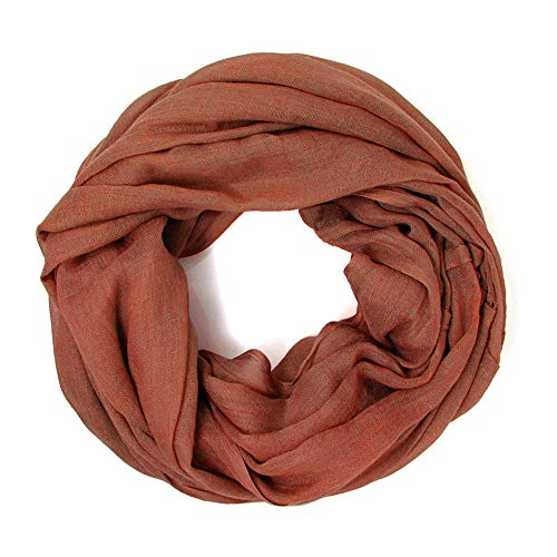 (Me Plus Women Cotton Solid Soft Light Weight Loop Circle Neck Wrap Infinity Scarf (Indian Red))