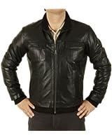 Black Leather Men's Bomber Jacket