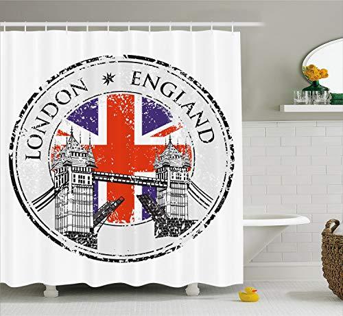 (Ambesonne British Shower Curtain, London England Grunge Stamp with Flag Nostalgic National Graphic, Cloth Fabric Bathroom Decor Set with Hooks, 70
