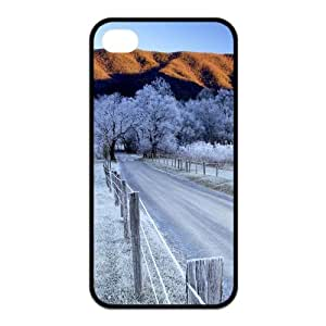 Custom Snowing Winter,Snowman Unique Iphone 4 4S Protective Rubber TPU cover