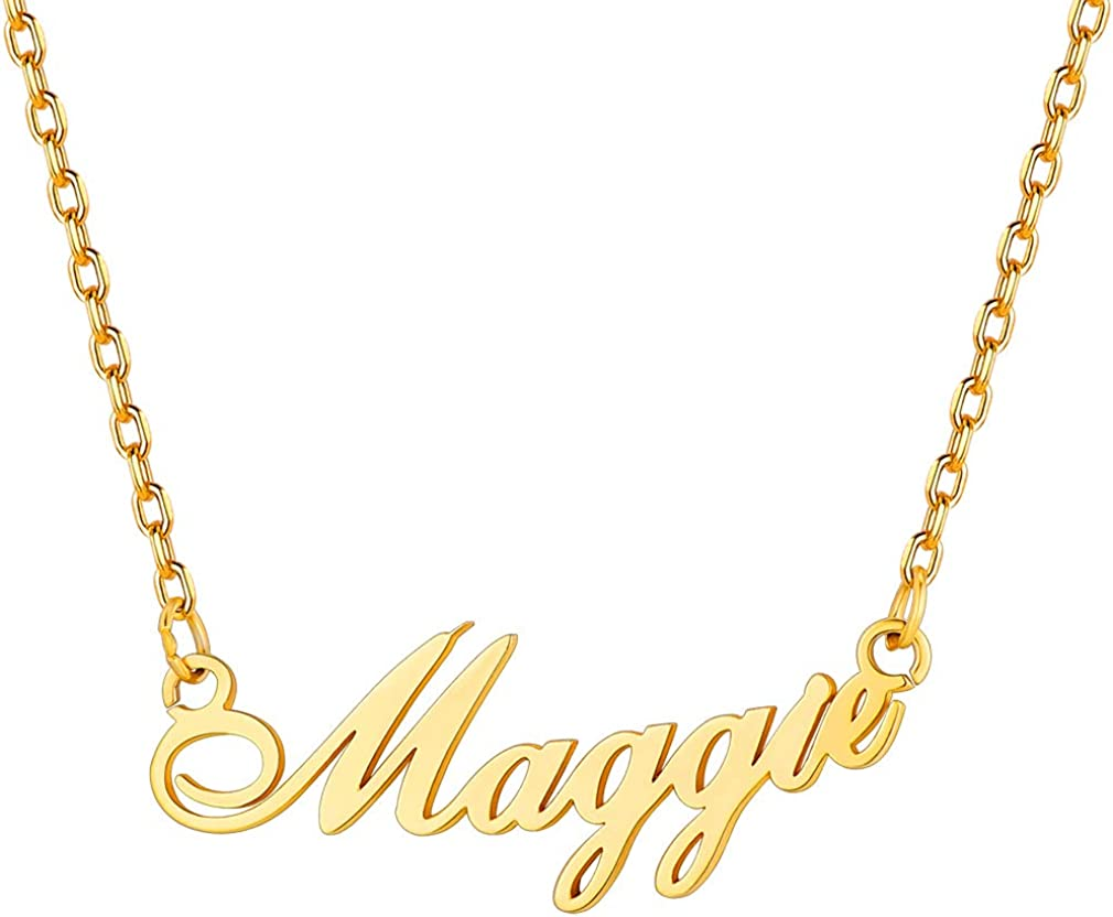Cursive Pendant Personalized Name Lily Script Name Necklace Silver Name Necklace