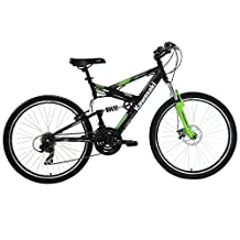 Kawasaki DX Full Suspension Mountain Bike, 26 inch Wheels, 19 inch Frame, Men's Bike, Black/Green