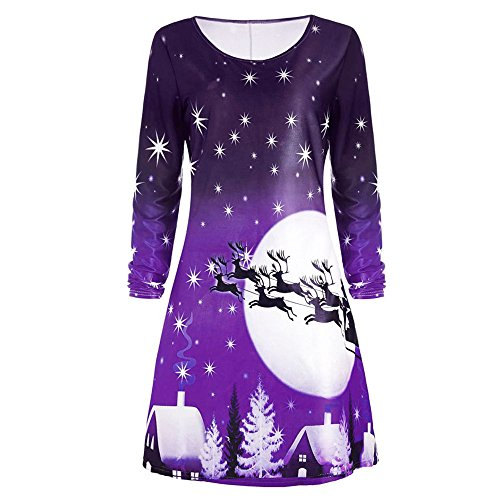 GOVOW Christmas Long Sleeve Dress for Women Ladies Evening Party Knee Length Dress -