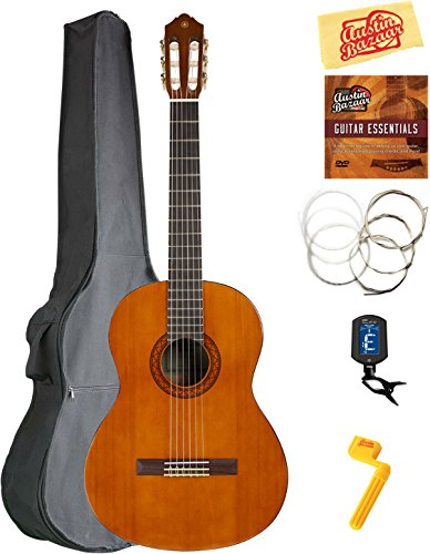 Guitar Nylon Fender String (Yamaha C40 Classical Guitar Bundle with Gig Bag, Tuner, Strings, String Winder, Austin Bazaar Instructional DVD, and Polishing Cloth)