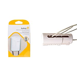 Safety 1st Outlet Cover with Cord Shortener for Baby Proofing with Safety 1st Power Strip Cover for Baby Proofing