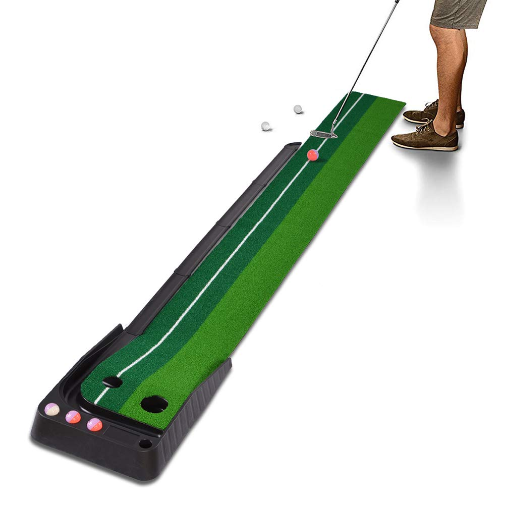 Xcellent Global Golf Putting Mat Set with Ball Auto Return Hazard, Professional Portable Practice Mini Golf Trainer Putting Green for Indoor Outdoor - 2 Holes and 6 Golf Balls by Xcellent Global