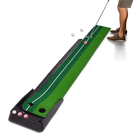Hivexagon Alfombra de Putting Golf con Auto Retorno para Interiores y Exteriores, Cesped de Minigolf Práctico Profesional y Portátil con Devolución y ...
