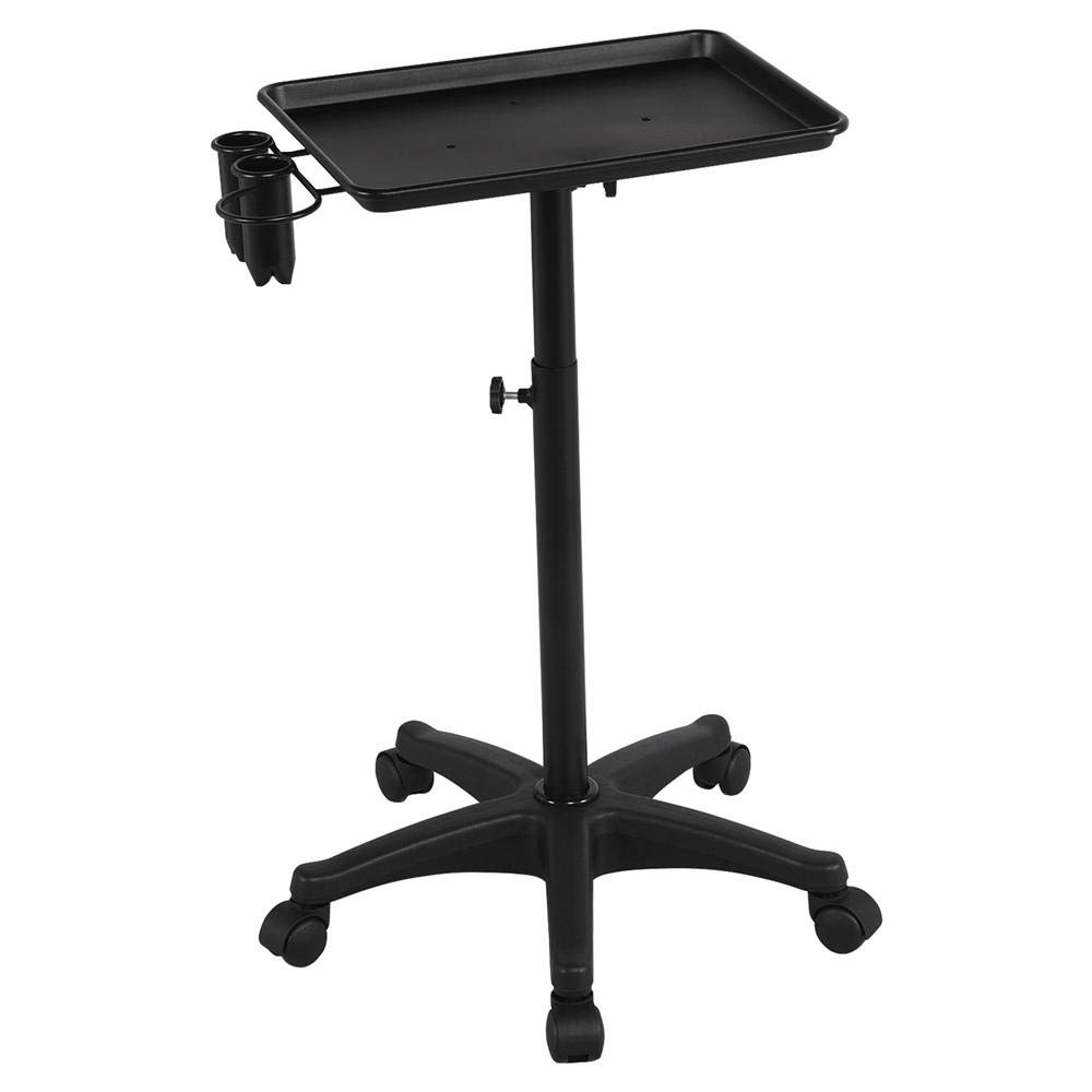Topeakmart Professional Aluminum Rolling Salon Instrument Tray Trolley w/Caddy Black by Topeakmart