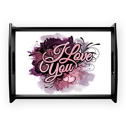 Large Serving Tray I Love You Purple Floral Grunge by Truly Teague