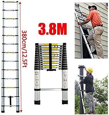 Escalera telescópica de 3,8 m, de aluminio, multiusos, plegable, escalera compacta para interior y exterior, escalera de trabajo, escalera de seguridad, carga máxima de 150 kg: Amazon.es: Bricolaje y herramientas