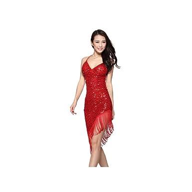 a5ba4421e3188 LightInTheBox Women's Performance Polyester Spandex Sequin Latin Samba  Dance Dress Red at Amazon Women's Clothing store: