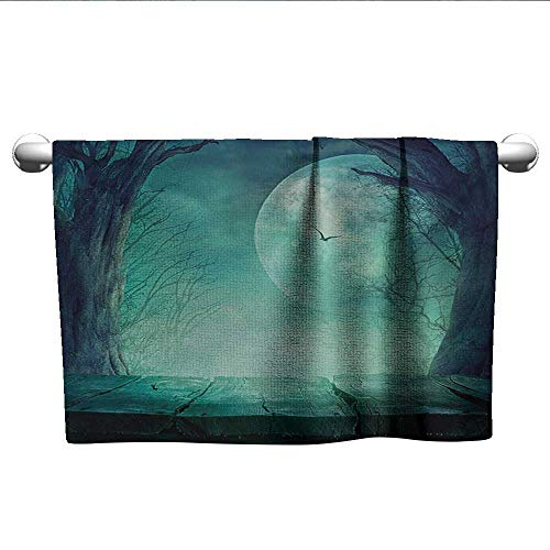 alisoso Halloween,Decorative Towels Spooky Teal Forest Moon and Vain Branches Mystical Haunted Horror Rustic Imagery Print Hotel Pool Towels Teal W 28