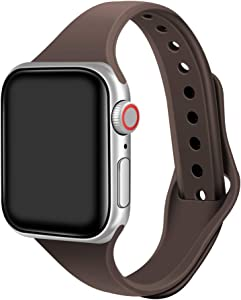 Narrow Watch Band Compatible with Apple Watch 44mm 42mm 40mm 38mm Thin Soft Silicone Skin-Friendly Sport Replacement Strap with iWatch SE Series 6 5 4 3 2 1