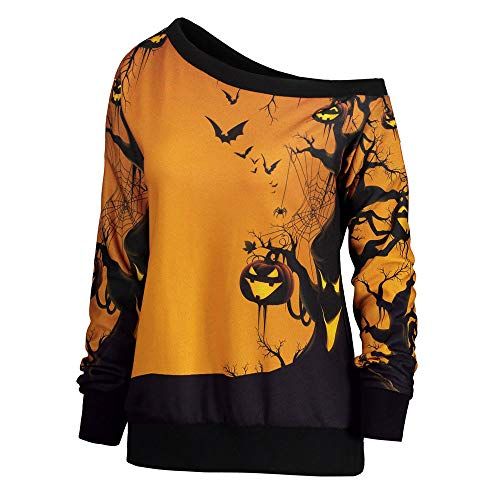 UONQD Women Halloween Party Skew Neck Pumpkin Sweatshirt Jumper Pullover Top(Medium,Yellow) -