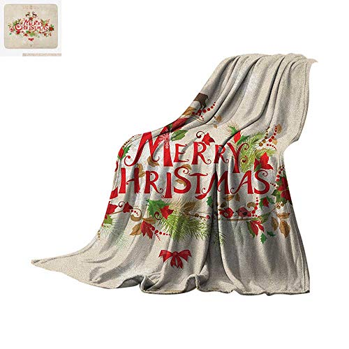 "Christmas Warm Microfiber All Season Blanket Merry Xmas Wish with Fir Tree Branches Poinsettia Flowers Cute Birds and Deer Summer Quilt Comforter 50""x30"" Green Red Tan"