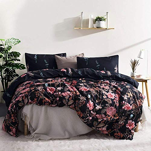 (Leadtimes Flower Duvet Cover Set, Floral Black Boho Hotel Bedding Sets with Soft Lightweight Microfiber 1 Duvet Cover and 2 Pillow Shams (King, Style8) )